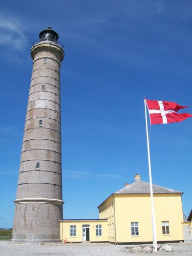 Švyturys ir vėliava Skagene (Danijos ššiaurėje)
